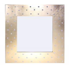 Зеркало интерьерное, золото, дерево, стразы сваровски, 50х50 см