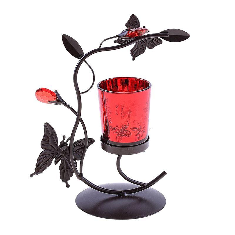 Подсвечник металл 1 свеча бабочка красный