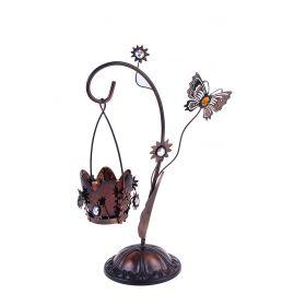Подсвечник металл 1 свеча навесной бабочка кофе