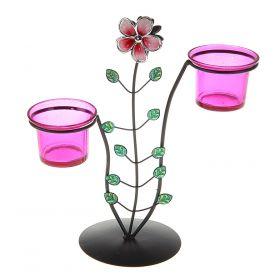 Подсвечник металл 2 свечи Цветок h-24 см
