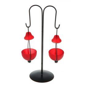 Подсвечник металл 2 свечи Фонарик h-30 см красный
