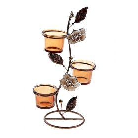 Подсвечник металл 3 свечи Нарцисс h-30 см кофе