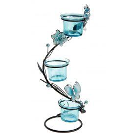 Подсвечник металл 3 свечи Цветки h-28.5 см голубой