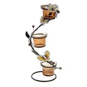 Подсвечник металл 3 свечи Цветки h-28.5 см кофе