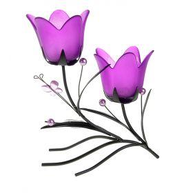Подсвечник металл 2 свечи Цветочки аленькие h-21 см фиолетовый