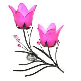 Подсвечник металл 2 свечи Цветочки аленькие h-21 см розовый