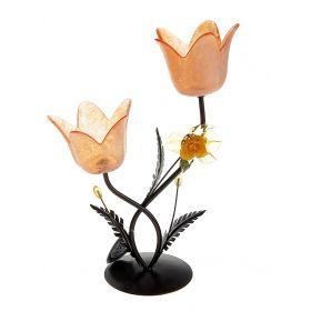 Подсвечник металл 2 свечи Цветочки аленькие h-21 см оранжевый