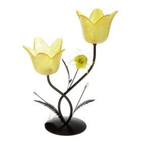Подсвечник металл 2 свечи Цветочки аленькие h-21 см желтый