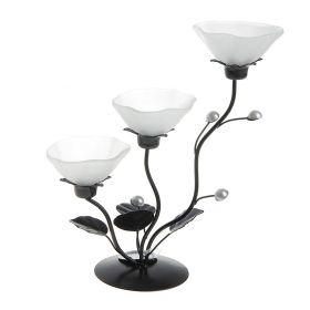 Подсвечник металл 3 свечи Цветок h-25 см белый