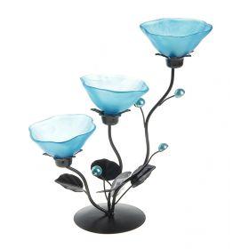 Подсвечник металл 3 свечи Цветок h-25 см голубой