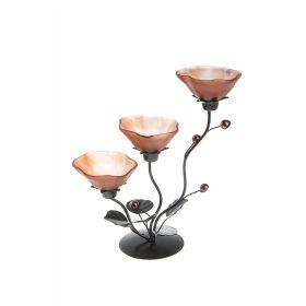 Подсвечник металл 3 свечи Цветок h-25 см коричневый
