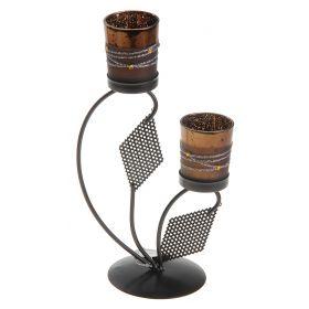 Подсвечник металл 2 свечи Модерн h-22 см кофе