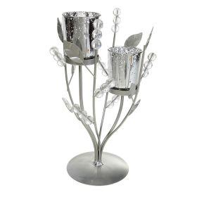 Подсвечник металл 2 свечи Бусики