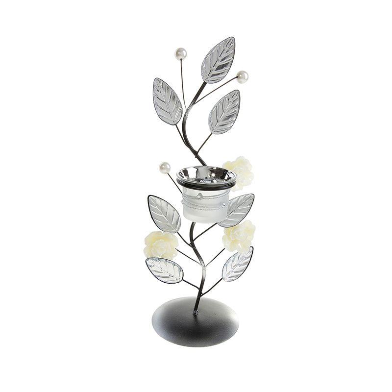 Подсвечник металл 1 свеча Белые розы