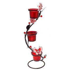 Подсвечник металл 3 свечи цветок жемчужинки спираль красный