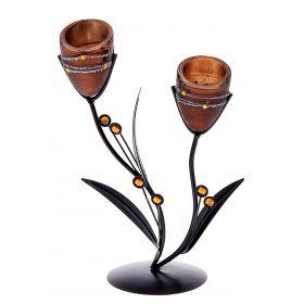 Подсвечник металл 2 свечи Пояс Ориона кофе