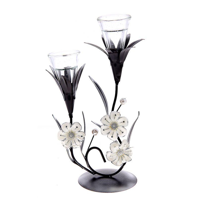 Подсвечник металл 2 свеча Лунный цветок белый