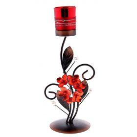 Подсвечник металл 1 свеча Северное сияние красный