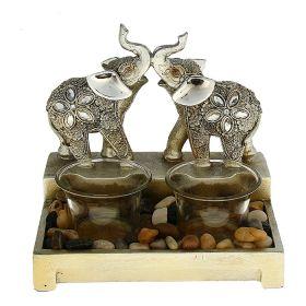 """Подсвечник на две свечи """"Два индийских слона с серебряными ушками"""""""