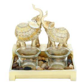 """Подсвечник на две свечи """"Два африканских слона в золотистых попонах"""""""