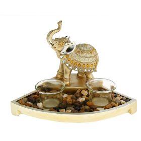 """Подсвечник на две свечи """"Два африканских слона с янтарными каплями на попоне"""""""