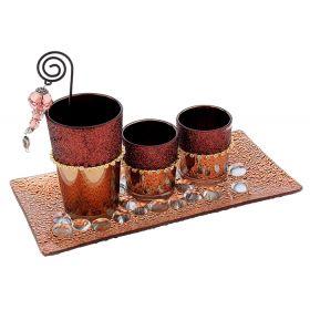 Подсвечник стекло 3 свечи шоколадное настроение