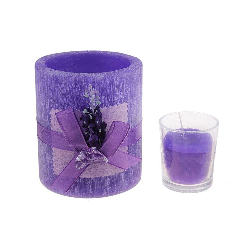 Подсвечник со свечей круглый цвета и аромата лаванды, декорир-ый лавандой с кристалами