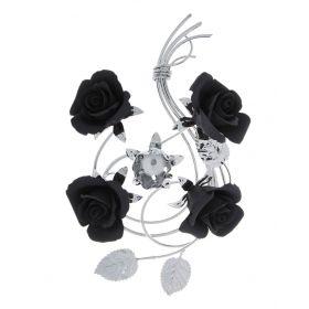Подсвечник на одну свечу, ручная работа никелированый с черными розами, бисквитный фарфор