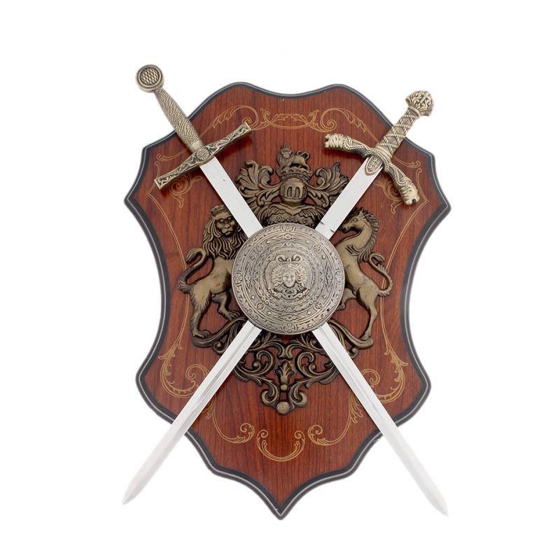 Геральдика, щит с горгоной, 2 меча