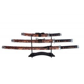 Катаны сувенирные 3в1, на подставке, ткань, коричневые ножны, узор с цветами