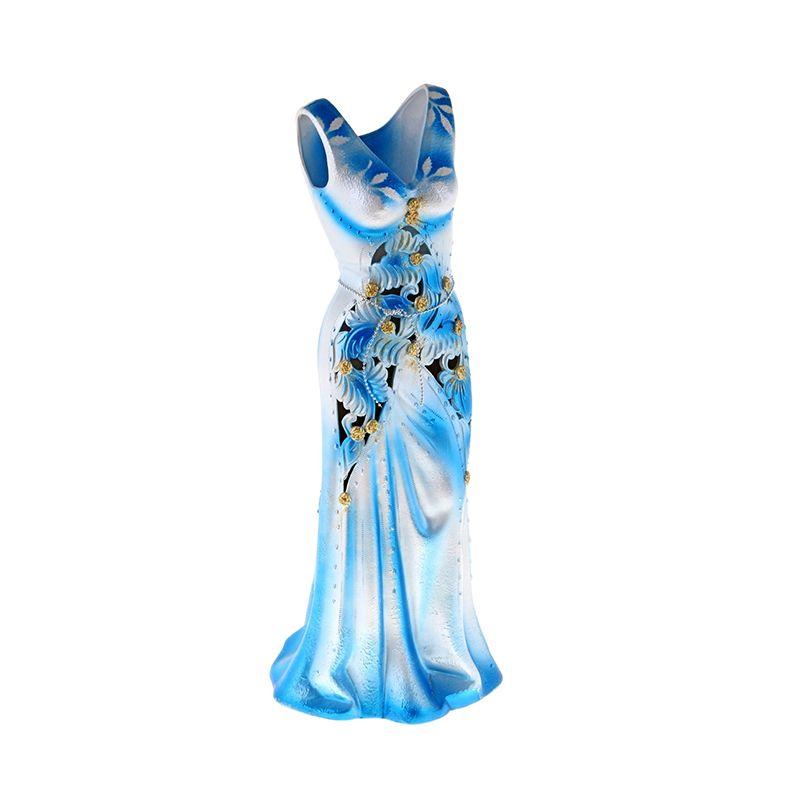 Ваза напольная форма Сарафан резка голубой