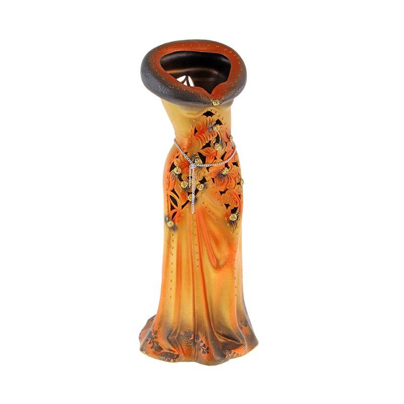 Ваза напольная форма Платье резка оранж
