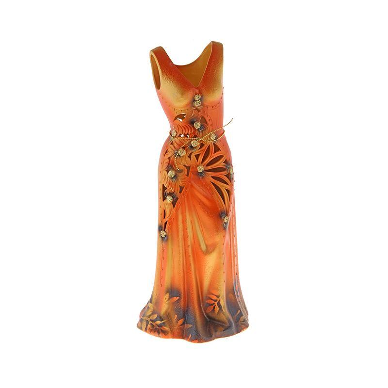 Ваза напольная форма Сарафан резка оранжевый