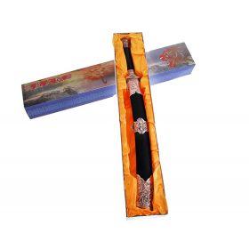 Сувенирное изделие меч на подставке, ножны кожа, вставки с драконом, черный