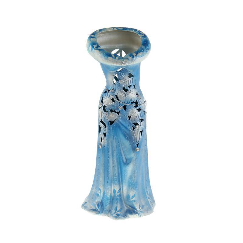 Ваза напольная форма Платье резка цвет синий
