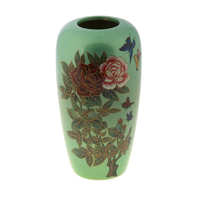 Ваза роспись овал 26 см ветка розы