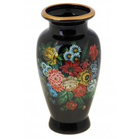Ваза роспись боченок 28 см букет полевых цветов