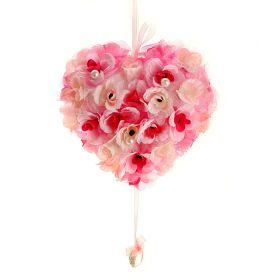 Декор сердце 21*20 см розы жемчуг