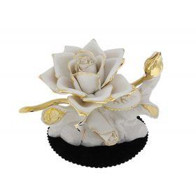 Роза из бисквитного фарфора ручной работы с позолотой, большая
