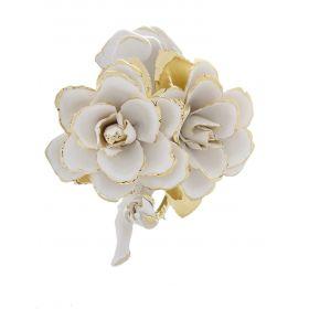 Роза декоративная ручной работы с бутоном из бисквитного фарфора с позолотой, два цветка