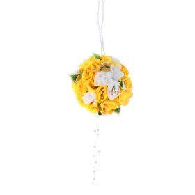 Шар из искусственных цветов с хрустальными кристаллами, цвет бело-желтый