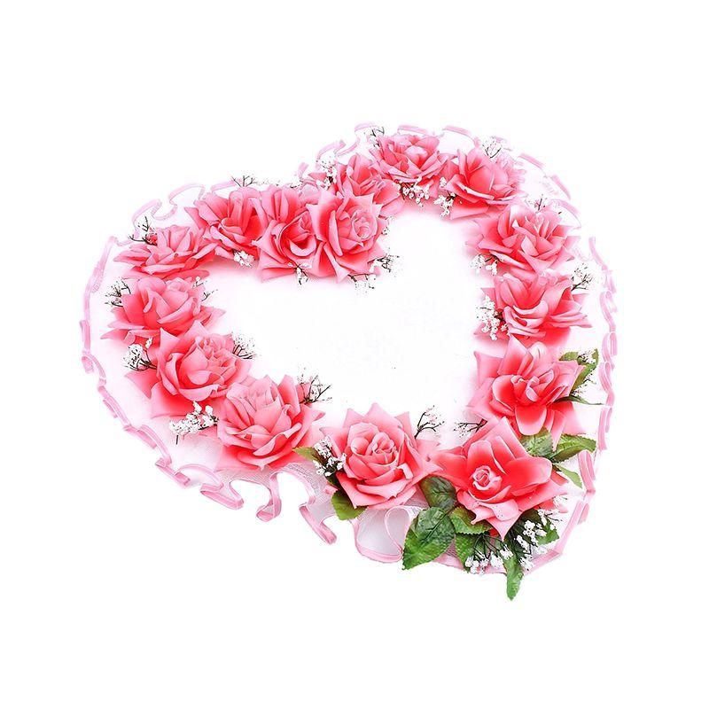 """Украшение для зала """"Сердце"""" Розовые розы с розовым кантом"""
