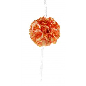 Шар из искусственных цветов с хрустальными кристаллами, цвет оранжевый