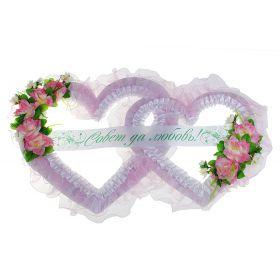 """Украшение для зала """"Совет да Любовь"""" два сердца средние с розами, белый с розовым"""