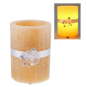 Лампа круглая из воска кремового цвета с ароматом ванили, декор-ая кристалами d-15 h-18