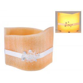 Лампа из воска кремового цвета с ароматом ванили, декор-ая кристалами d-24*16 h-20 15LA5