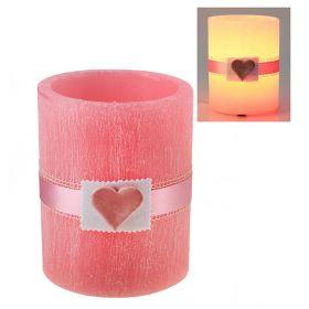 Лампа круглая из воска розового цвета с ароматом розы, декорированная керамическим сердцем d-15 h-1
