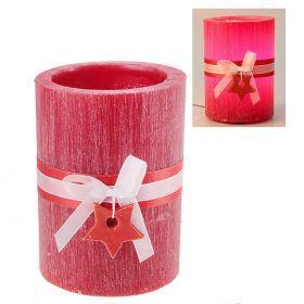 Лампа круглая из воска красного цвета с ароматом ягод, декорированная керамической звездой d-15 h-1