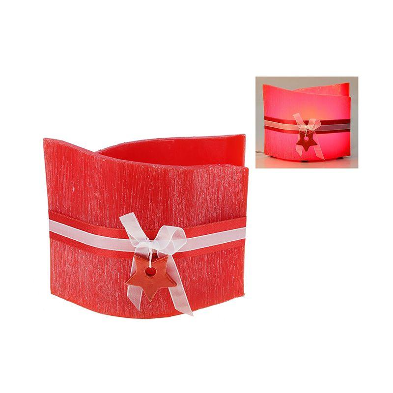 Лампа из воска красного цвета с ароматом ягод, декор-ая керамической звездой d-24*16 h-20