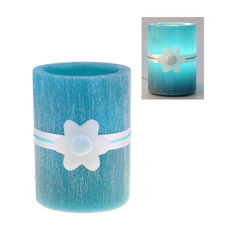 Лампа круглая из воска бирюзового цвета с ароматом мяты d-15 h-18 18LA4